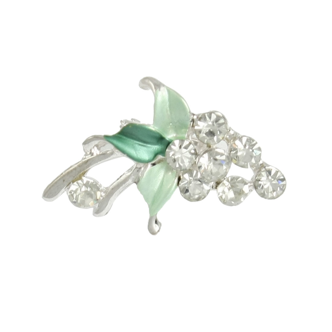 Green Leaf Rhinestone Decor Grape Shape Safety Pin Brooch for Women