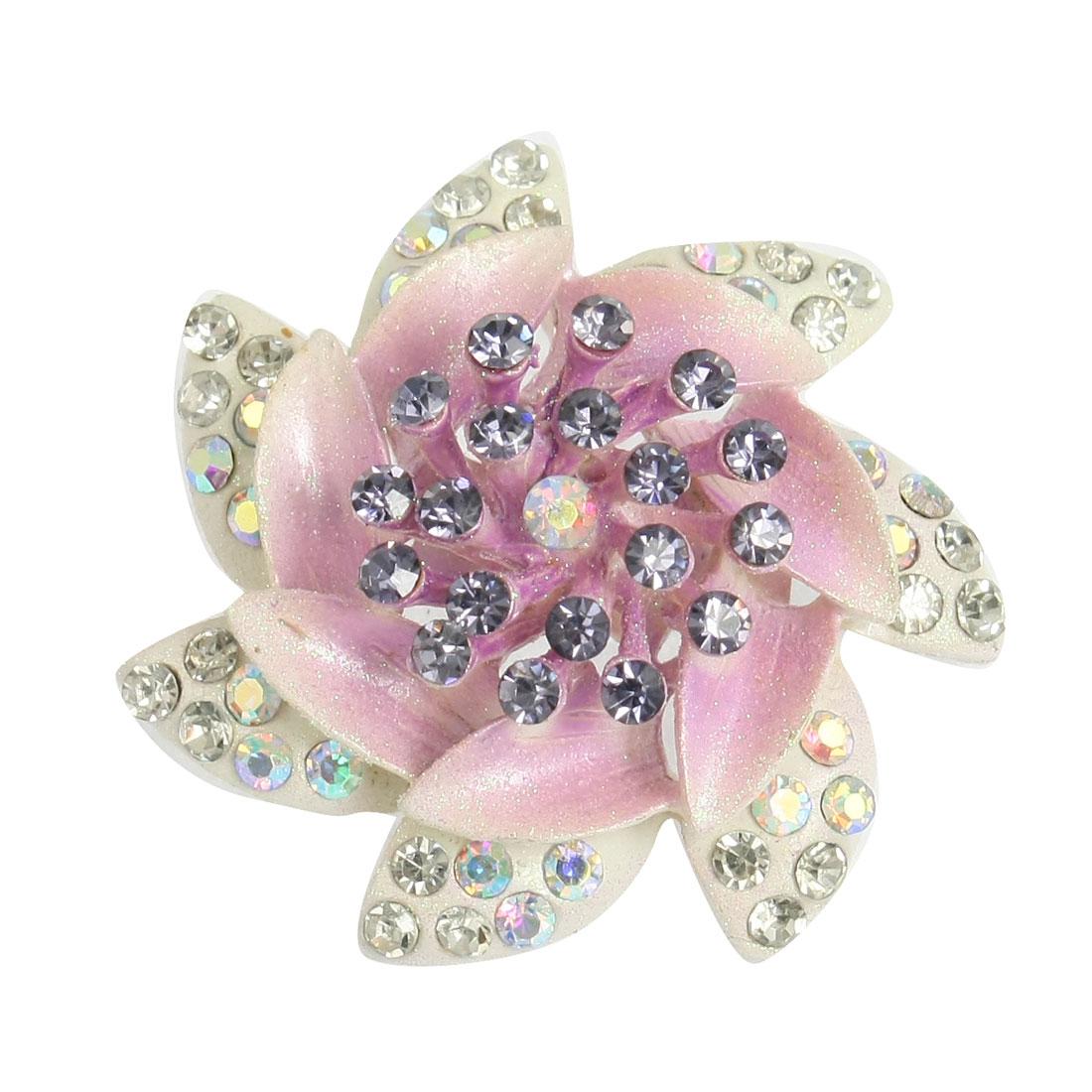 Lavender Rhinestone Decor Flower Brooch Pin Wedding Bridal Corsage