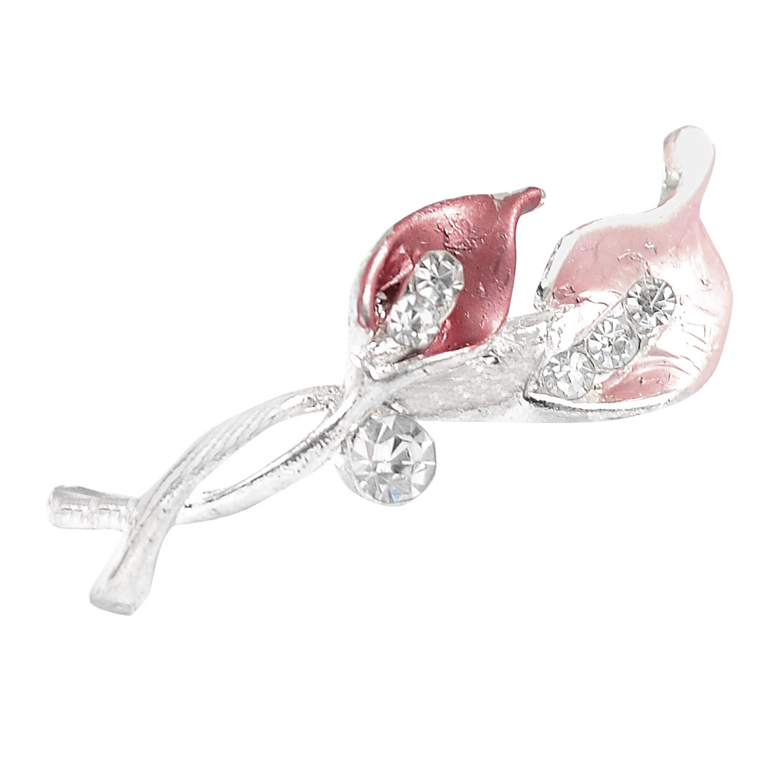 Woman Bling Bling Rhinestone Accent Pink Red Leaf Floral Safety Pin Brooch