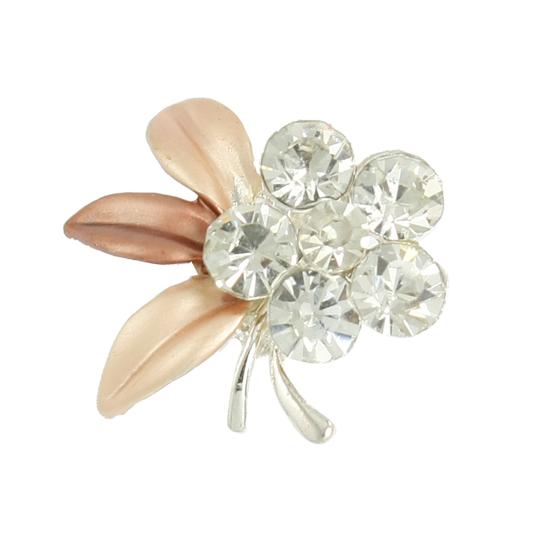 Lady Light Brown Leaf Floral Glitter Rhinestone Cluster Pin Brooch