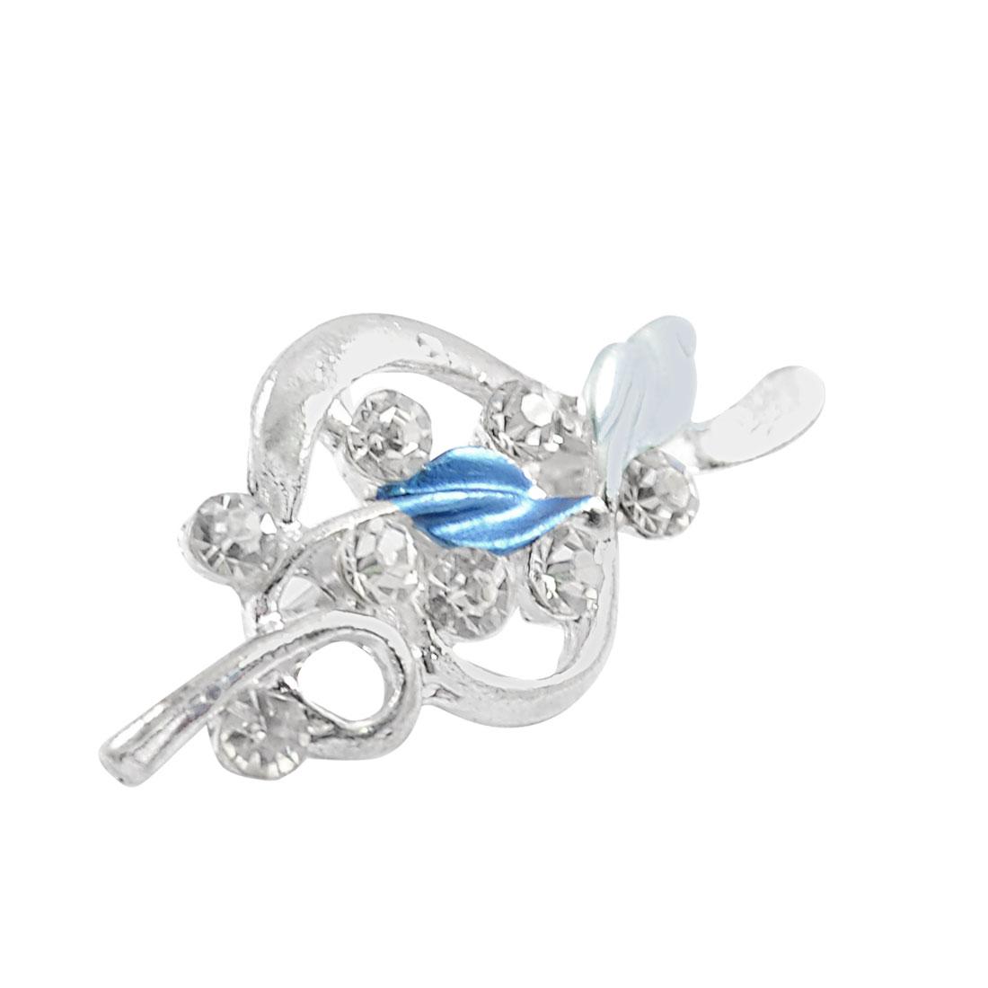 Women Bling Bling Rhinestone Inlaid Blue Leaf Floral Alloy Pin Brooch