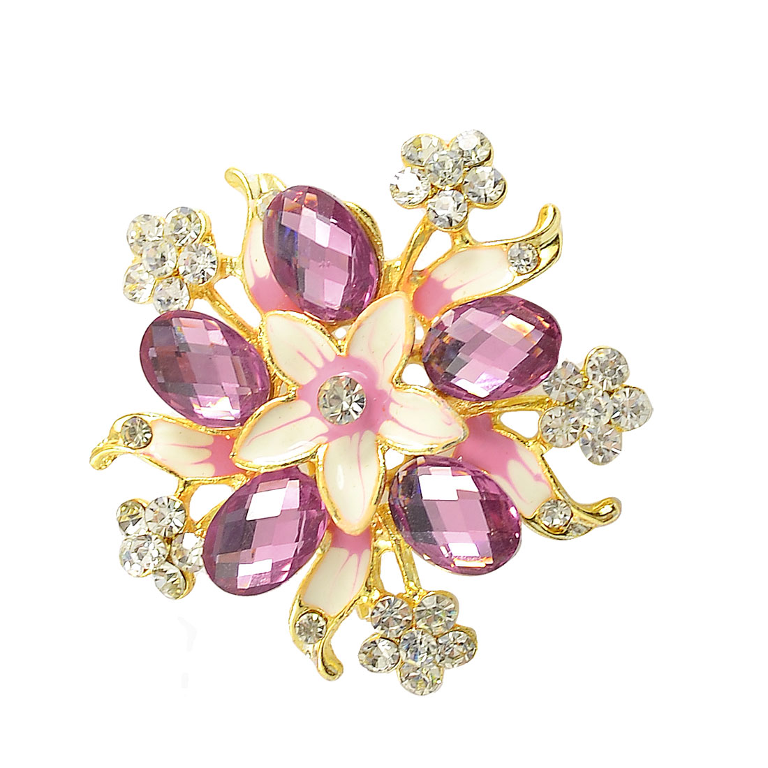 Woman Pink Plastic Crystal Inlaid Flower Centering Safety Pin Brooch
