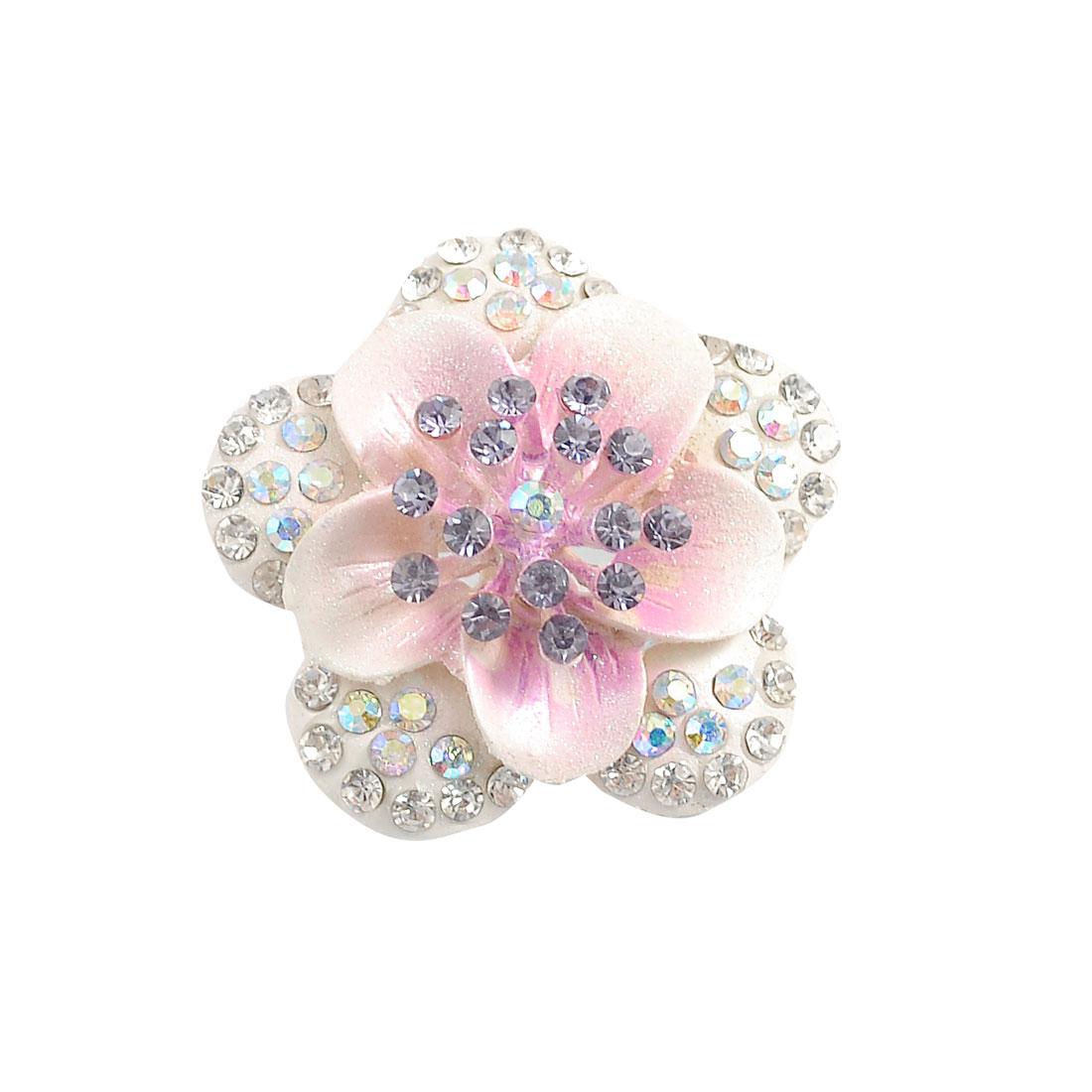 Ladies Purple Shiny Plastic Rhinestone Accent Flower Brooch Apparel Decor