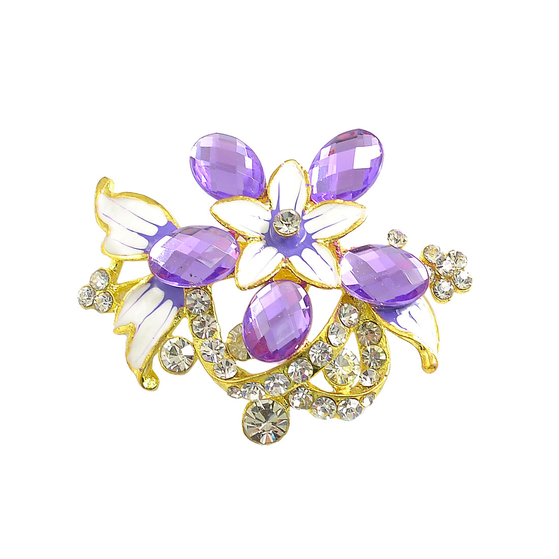 Woman Purple Faceted Crystal Detail Gold Tone Alloy Floral Brooch Corsage