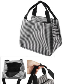 Black Whtie Stripes Pattern Shopping Zip Handbag Bag for Ladies