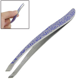 Slant Tip Purple Flower Print Makeup Tool Eyebrow Tweezer for Ladies