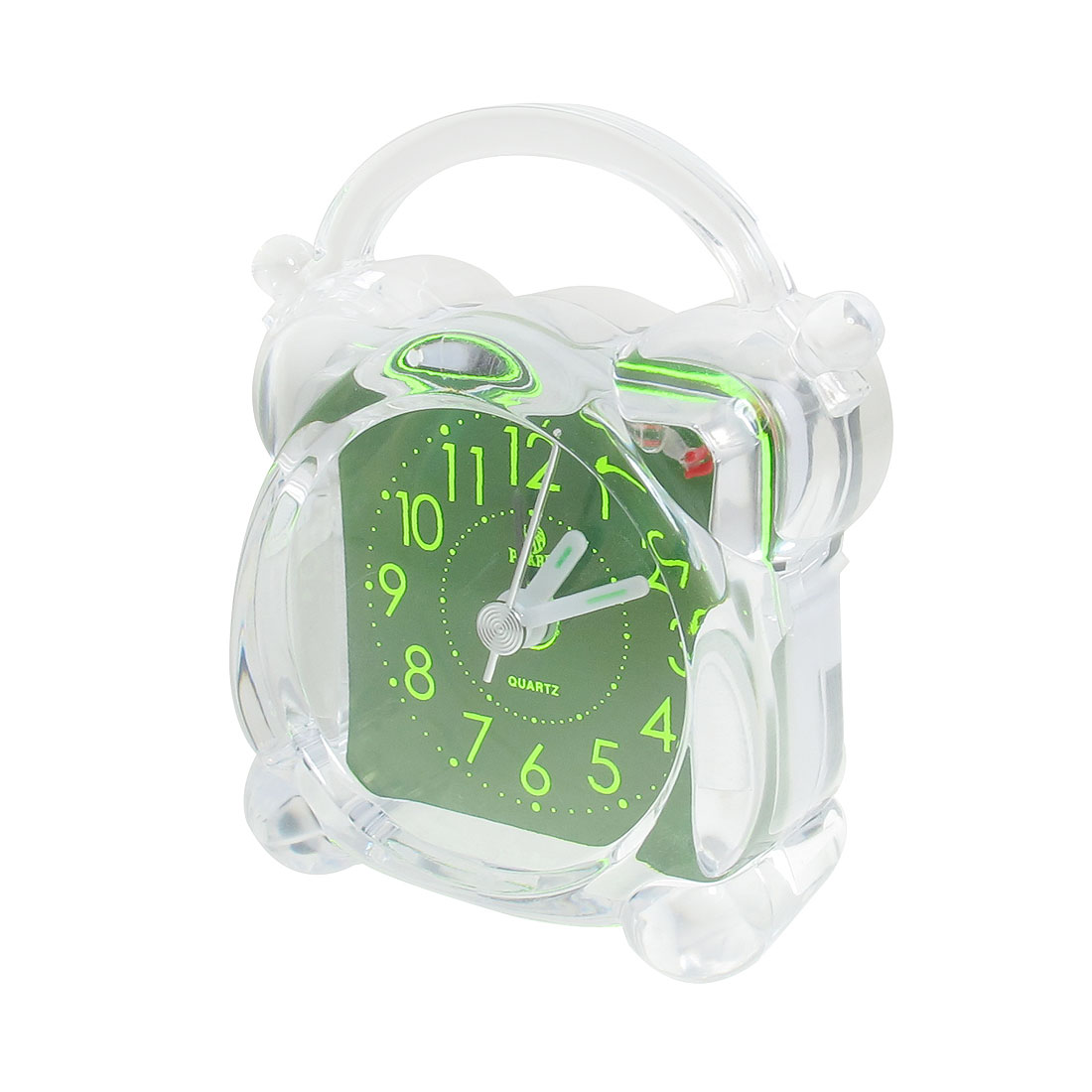 Battery Powered Green Arabic Numbers Dial Clear Plastic Shell Alarm Clock