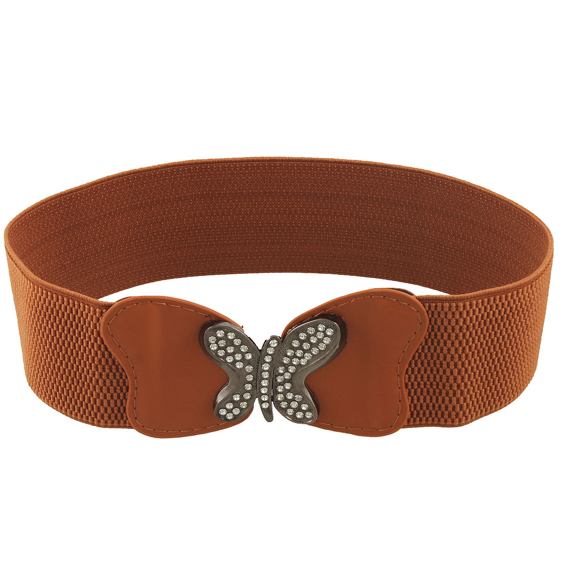 Ladies Metal Butterfly Buckle 6cm Wide Brown Elastic Belt