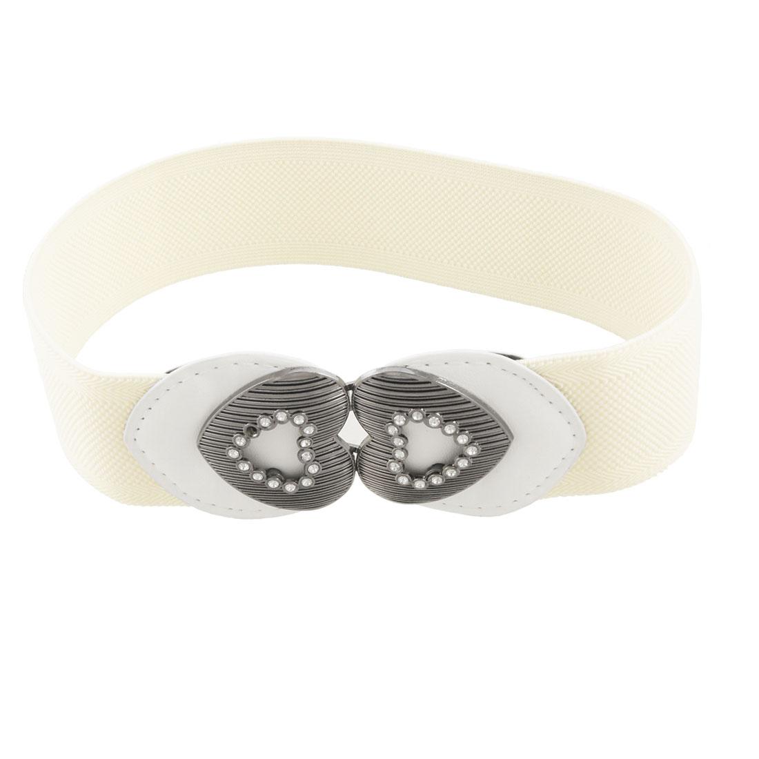 Rhinestone Decor Heart Buckle Beige Stretch Cinch Belt for Lady
