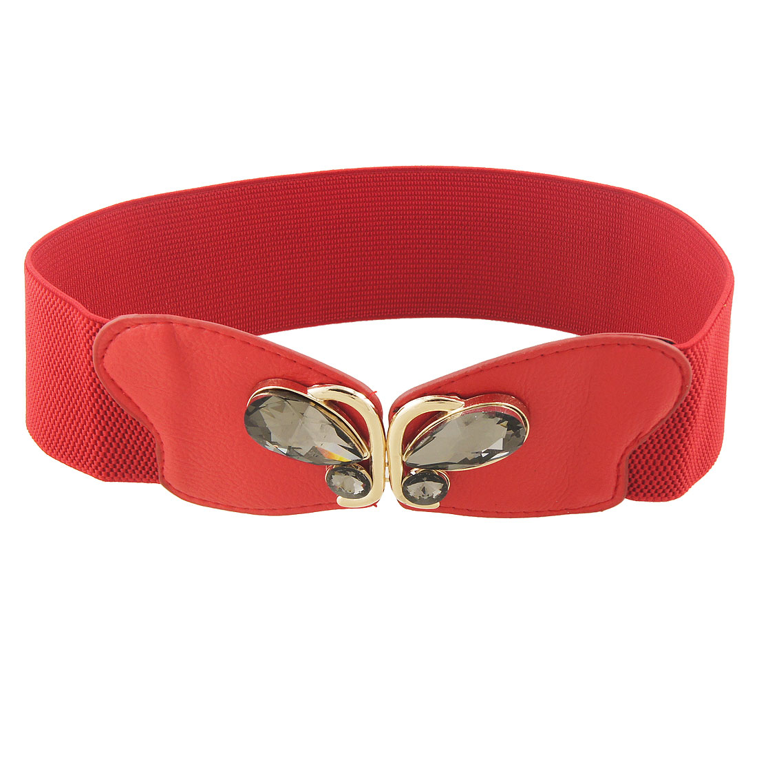 Butterfly Shape Buckle Lychee Print Stretchy Cinch Belt Red for Lady