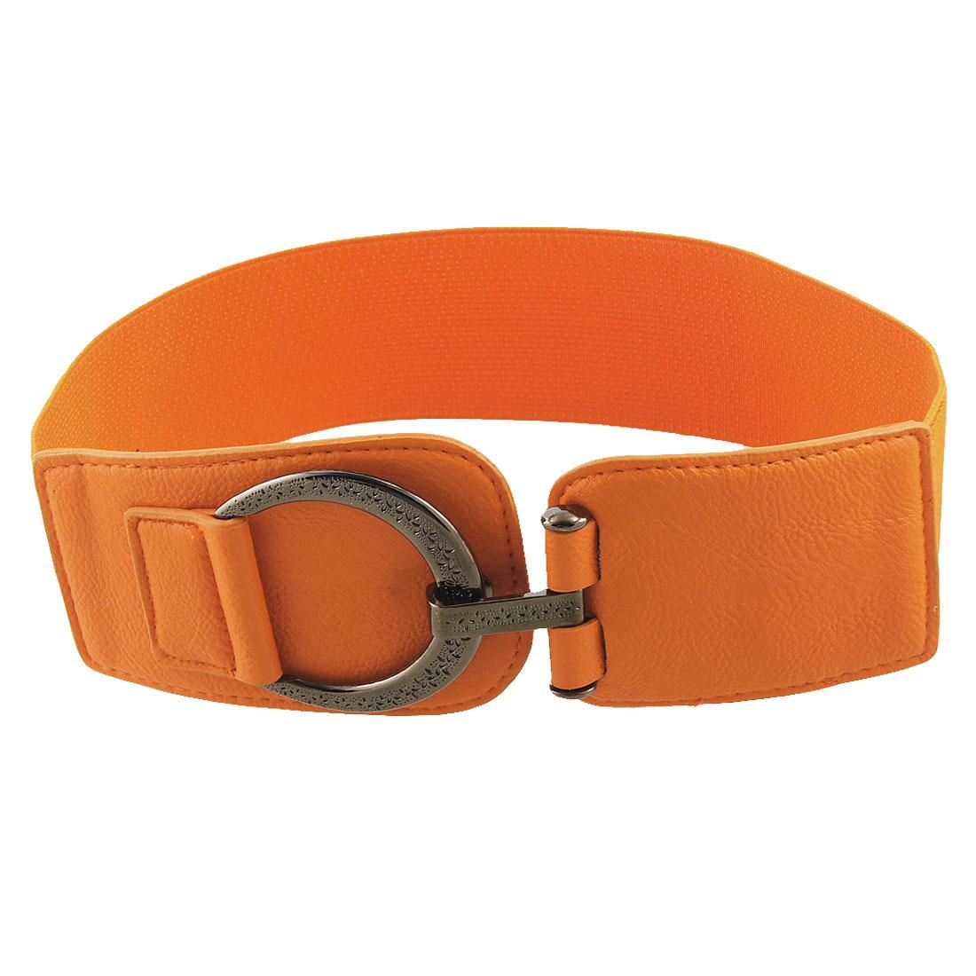 Ladies Texture Pattern Interlocking Buckle Stretchy Cinch Belt Orange