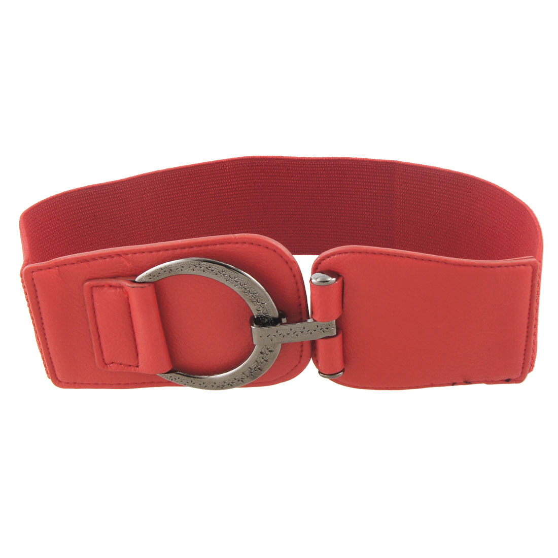 "Ladies D Shape Metal Buckle 2.4"" Width Red Elastic Cinch Belt"