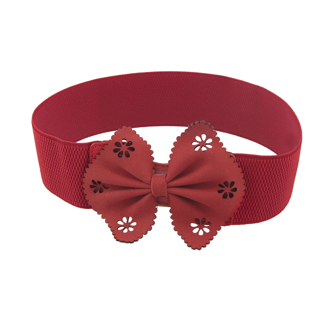 Lady Bowknot Decor Press Button Closure Red Stretchy Waist Belt