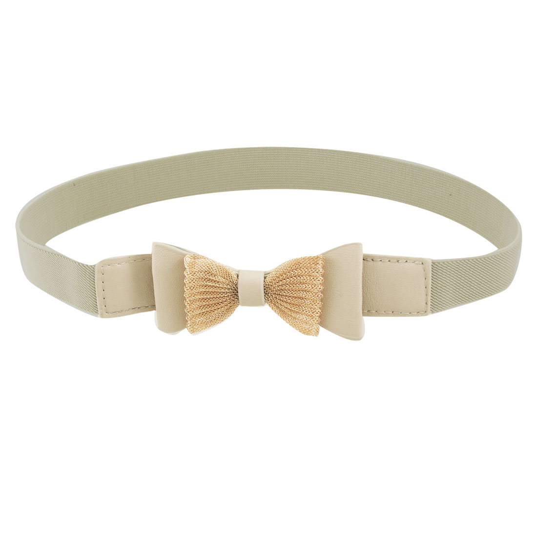 "Lady Faux Leather Bowtie Decor 1"" Width Khaki Elastic Cinch Belt"
