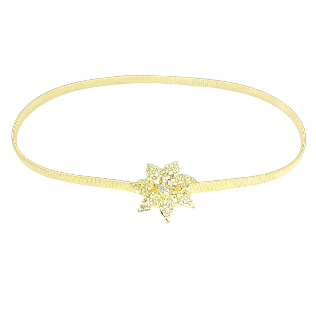 Ladies Floral Shape Interlocking Buckle Gold Tone Stretchy Cinch Belt