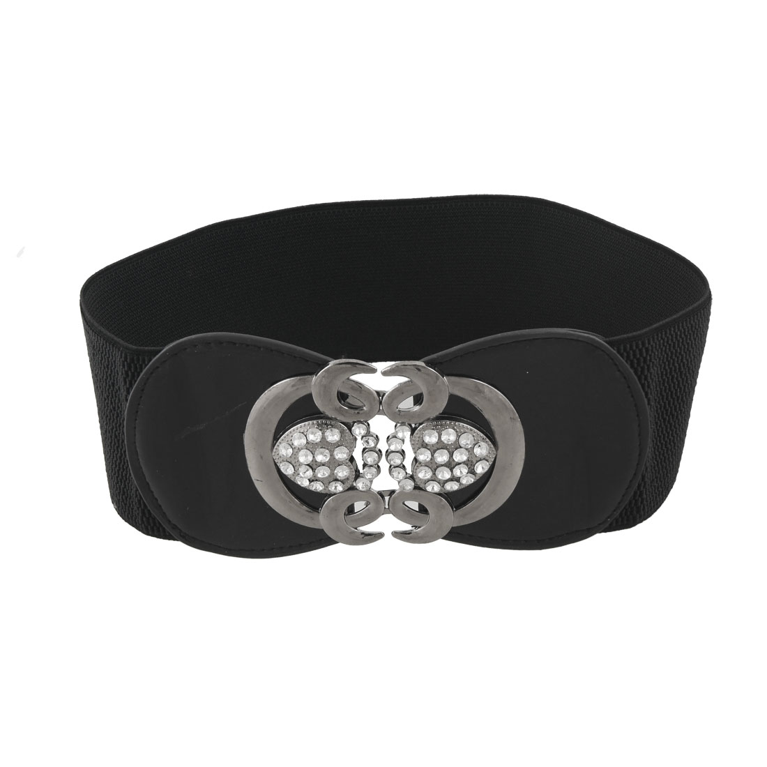 "Women Dark Gray Heart Shape Closure 3"" Width Black Elastic Waist Belt"
