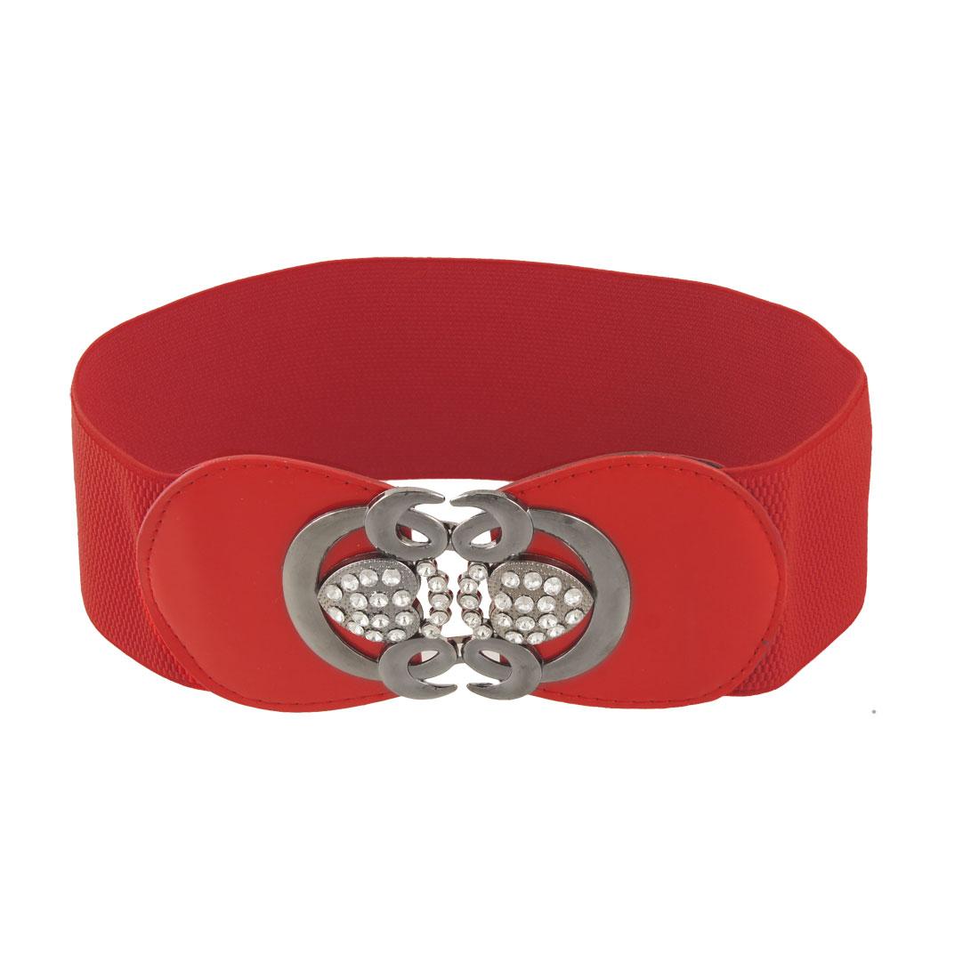 "Ladies Dark Gray Heart Shape Closure 3"" Width Red Elastic Waist Belt"