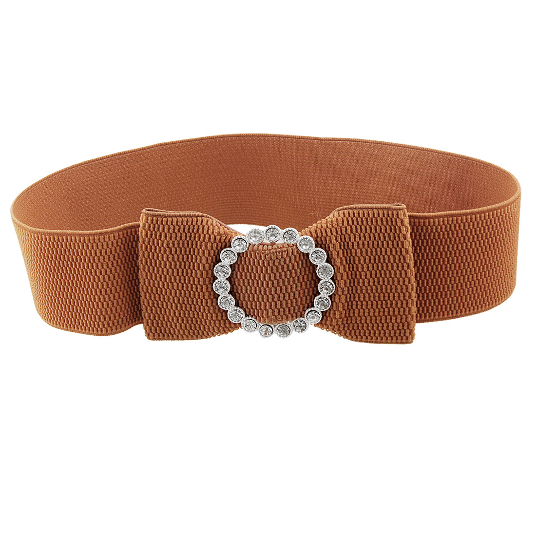"Bowknot Decor 2.4"" Width Brown Elastic Waist Belt for Ladies"