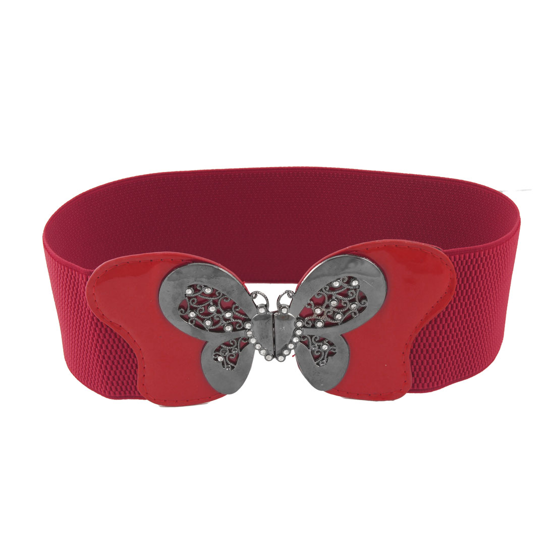 Woman Metal Butterfly Buckle Red 7.5CM Wide Elastic Cinch Belt