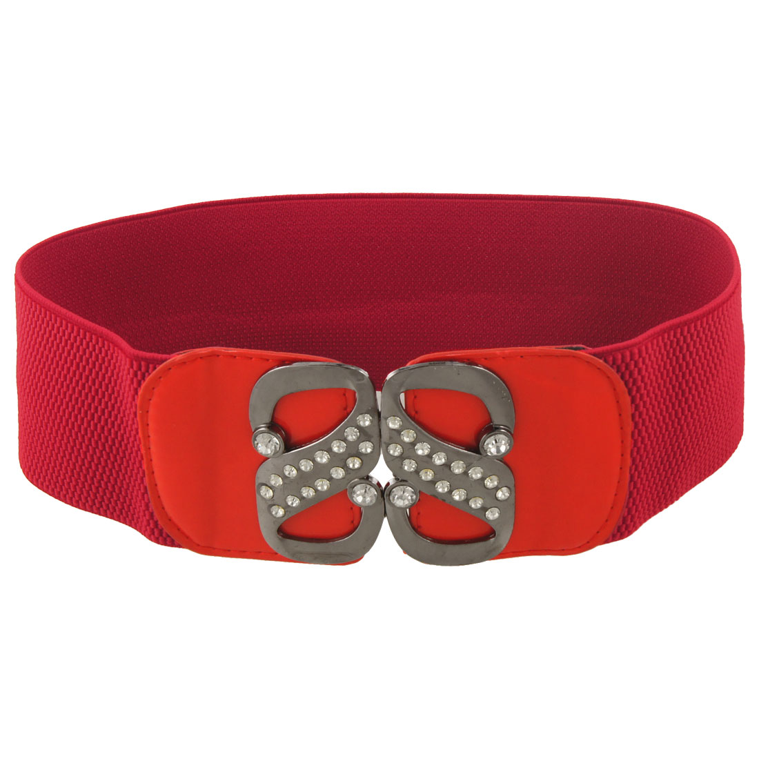 Lady Double S Interlock Buckle Red Elastic High Waist Cinch Belt