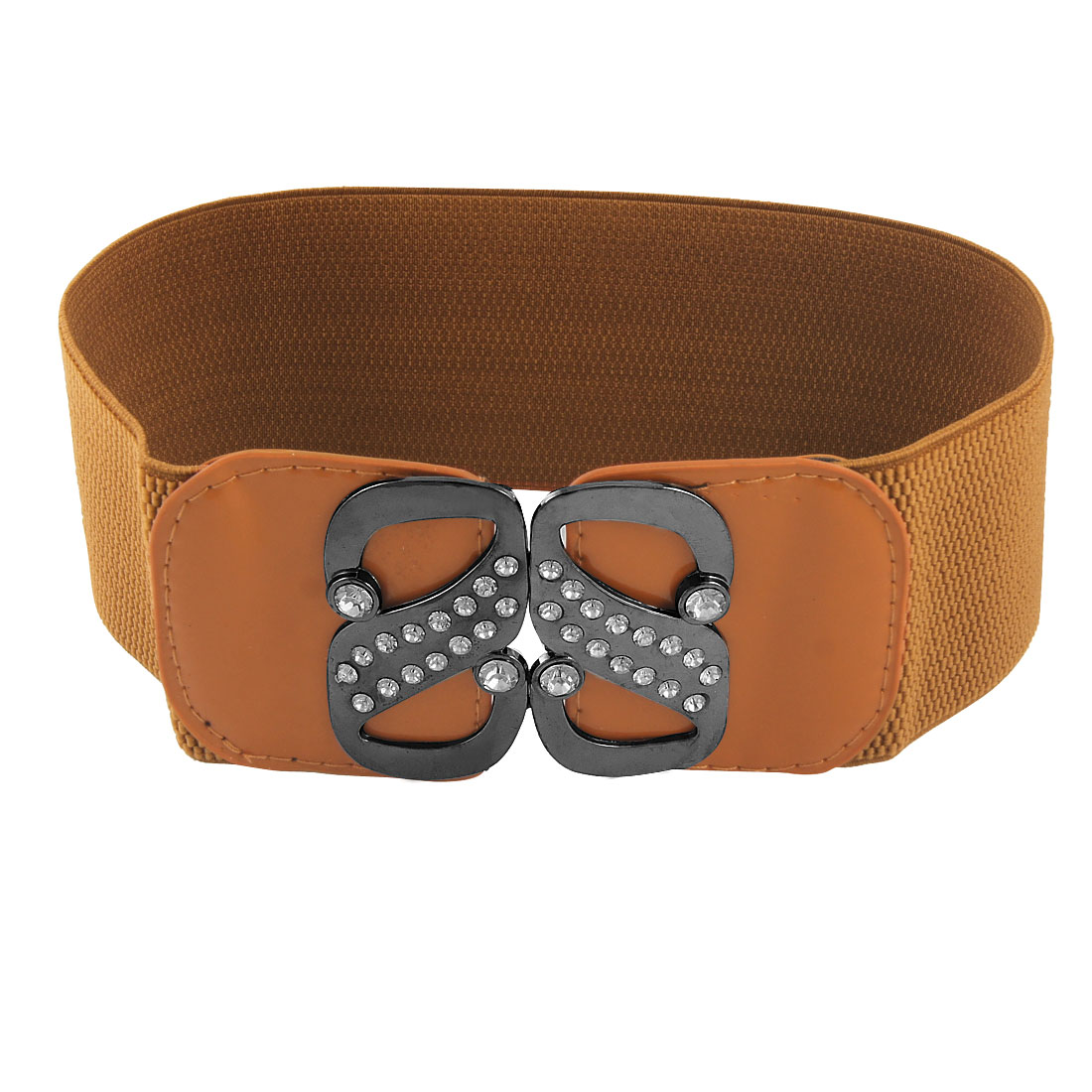 Woman Double S Interlock Buckle Elastic Waist Cinch Belt Brown