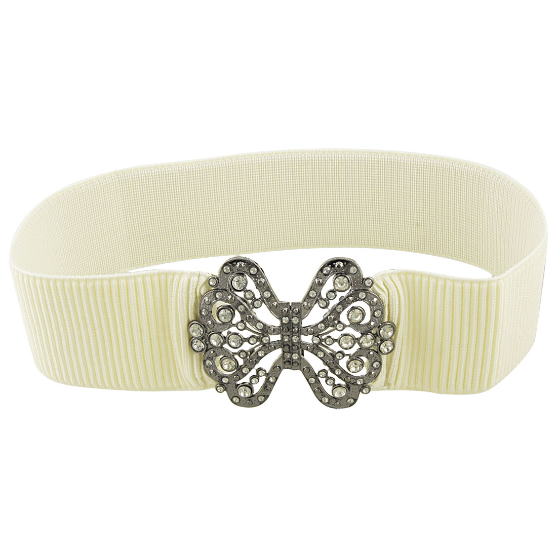 Dark Gray Butterfly Shape Buckle Elastic Waist Belt Beige for Lady