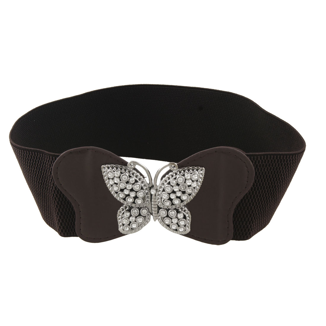 Lady Butterfly Buckle Rhinestone Decor Elastic Dark Brown Belt