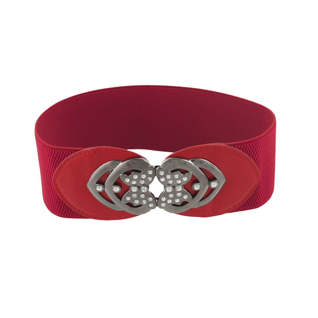 "Lady Butterfly Shape Metal Closure 3"" Width Red Stretchy Cinch Belt"