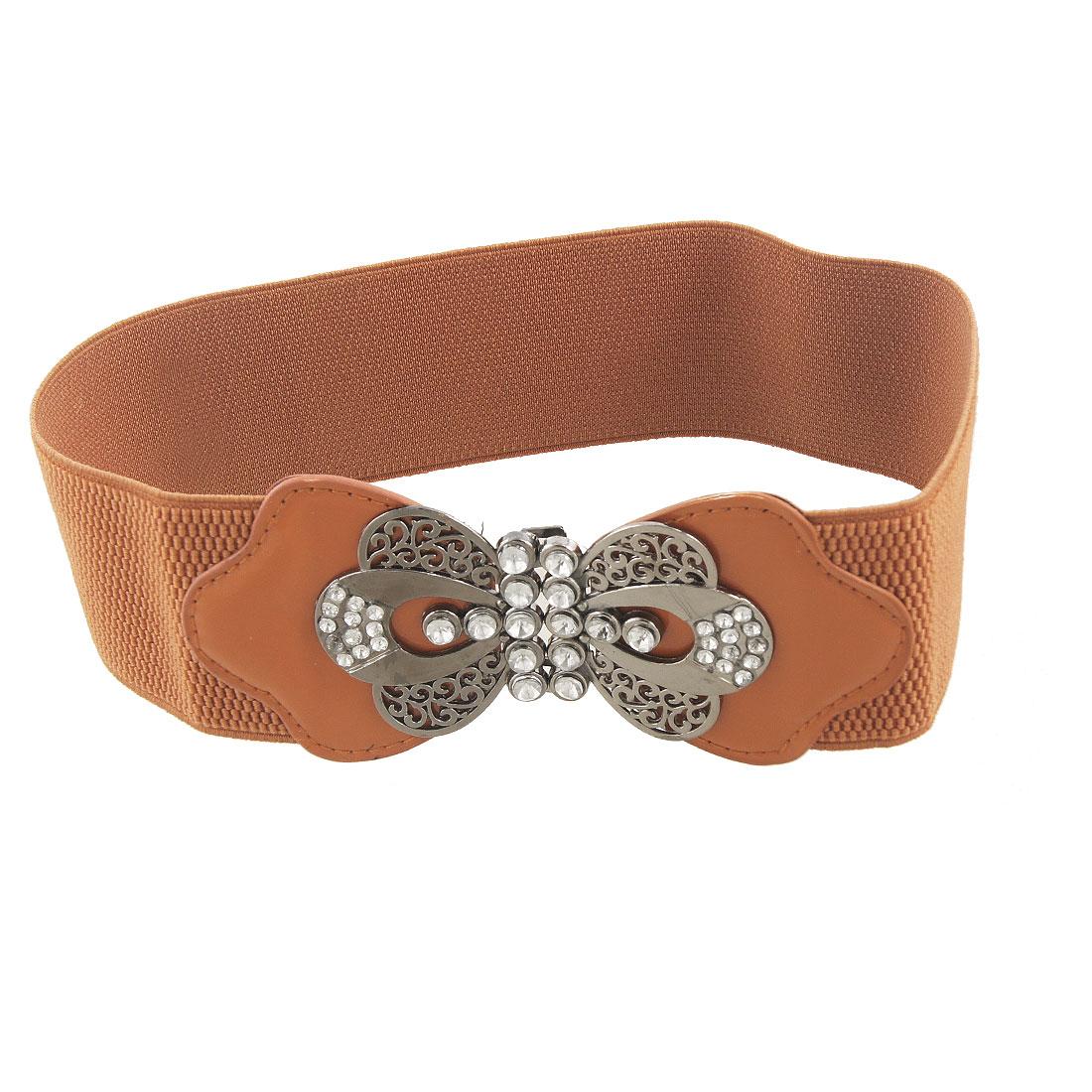 Women Dark Gray Butterfly Buckle Brown Elastic Cinch Belt