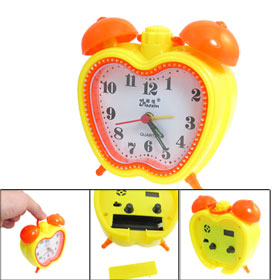 Apple Shaped Dial Dual Bell Top Mini Desk Alarm Clock Orange Yellow