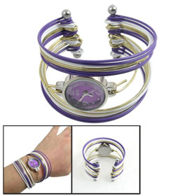 Three Colors Multi Tier Bangle Round Dail Quartz Wrist Watch for Lady