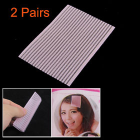 2 Pair Pink Flexible Rectangle Hairstyle Hair Bang Magic Sheets for Lady