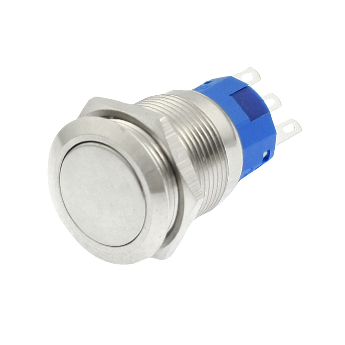 SPDT 19mm Stainless Steel Round Latching Push Button Switch 3 Poles 5A 250V AC