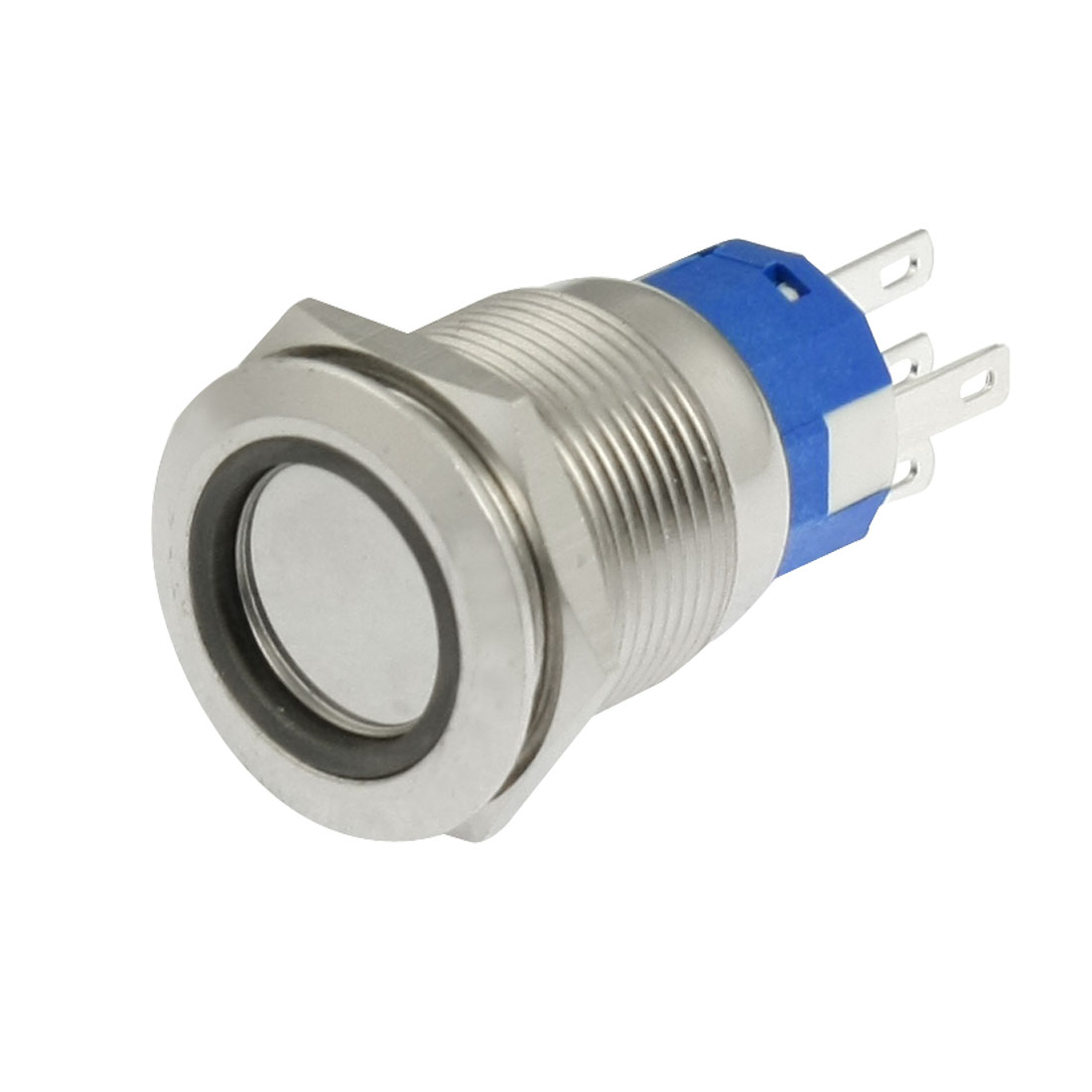 DC 24V Blue LED Illuminated 19mm Stainless Steel Latching Push Button Switch