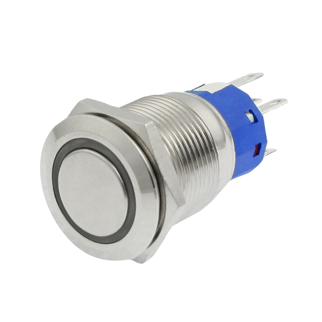 DC 24V Red LED Light 19mm SPDT Stainless Steel Momentary Round Pushbutton Switch