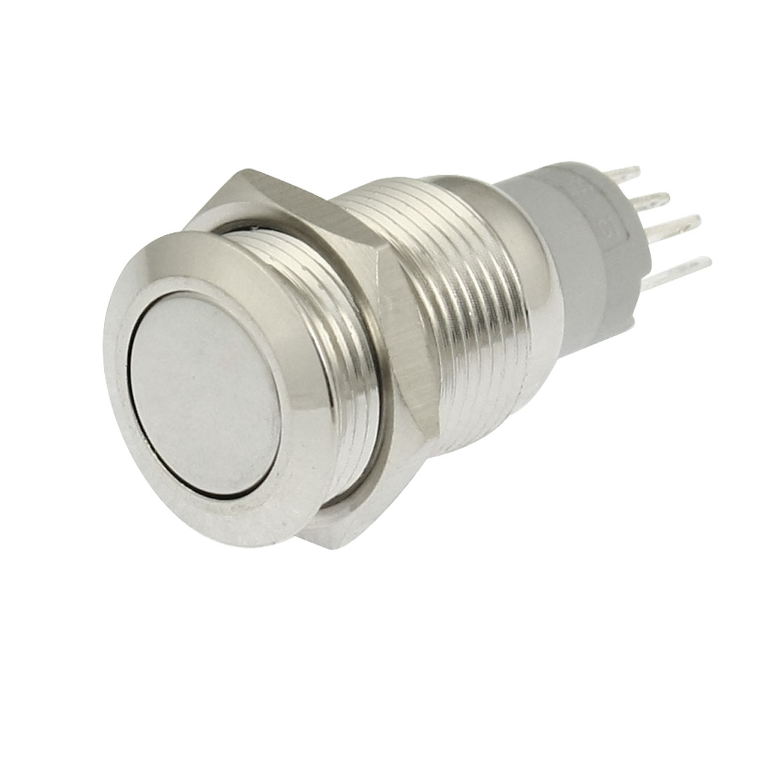 AC 250V 3A 16mm Stainless Flat Latching Push Button Switch