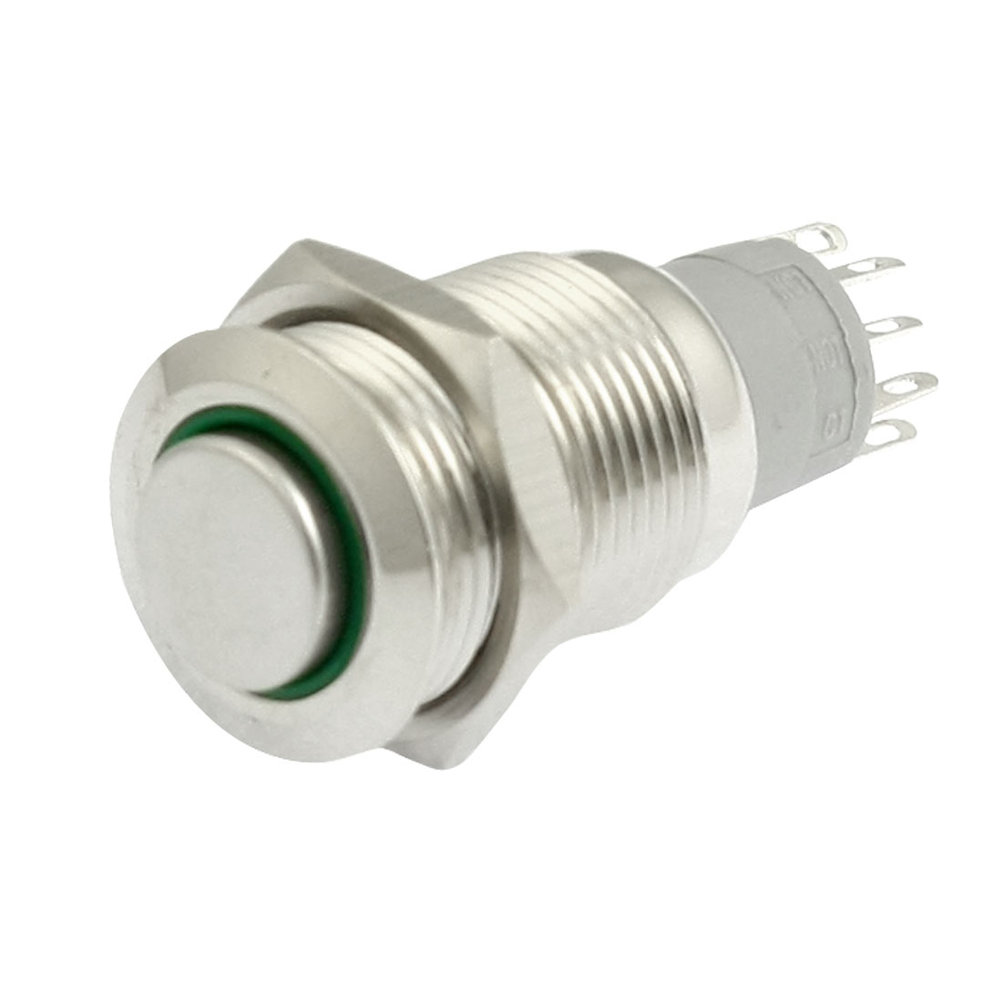 Green LED Pilot Light 24V 16mm SPDT Stainless Latching Round Push Button Switch