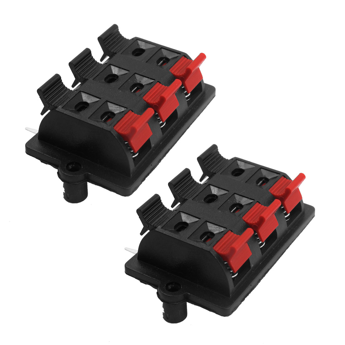 2 Pcs Spring Loaded Rectangle 3 Red 3 Black 6 Position Speaker Terminals