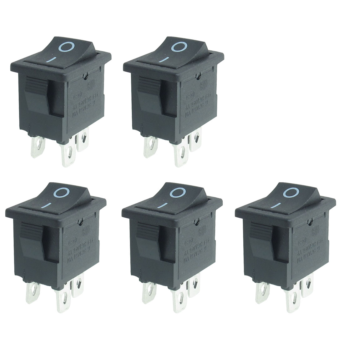 5 Pcs AC 250V/6A 125V/10A 4 Pins DPST On/Off Rocker Switch