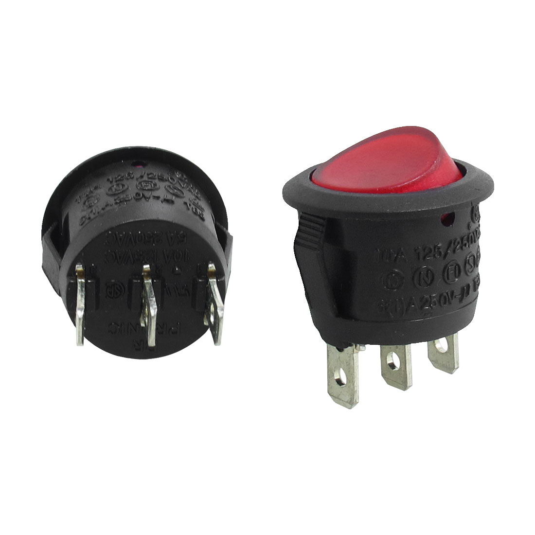 2 Pcs 3 Pins SPST On/Off Neon Light Round Rocker Switch