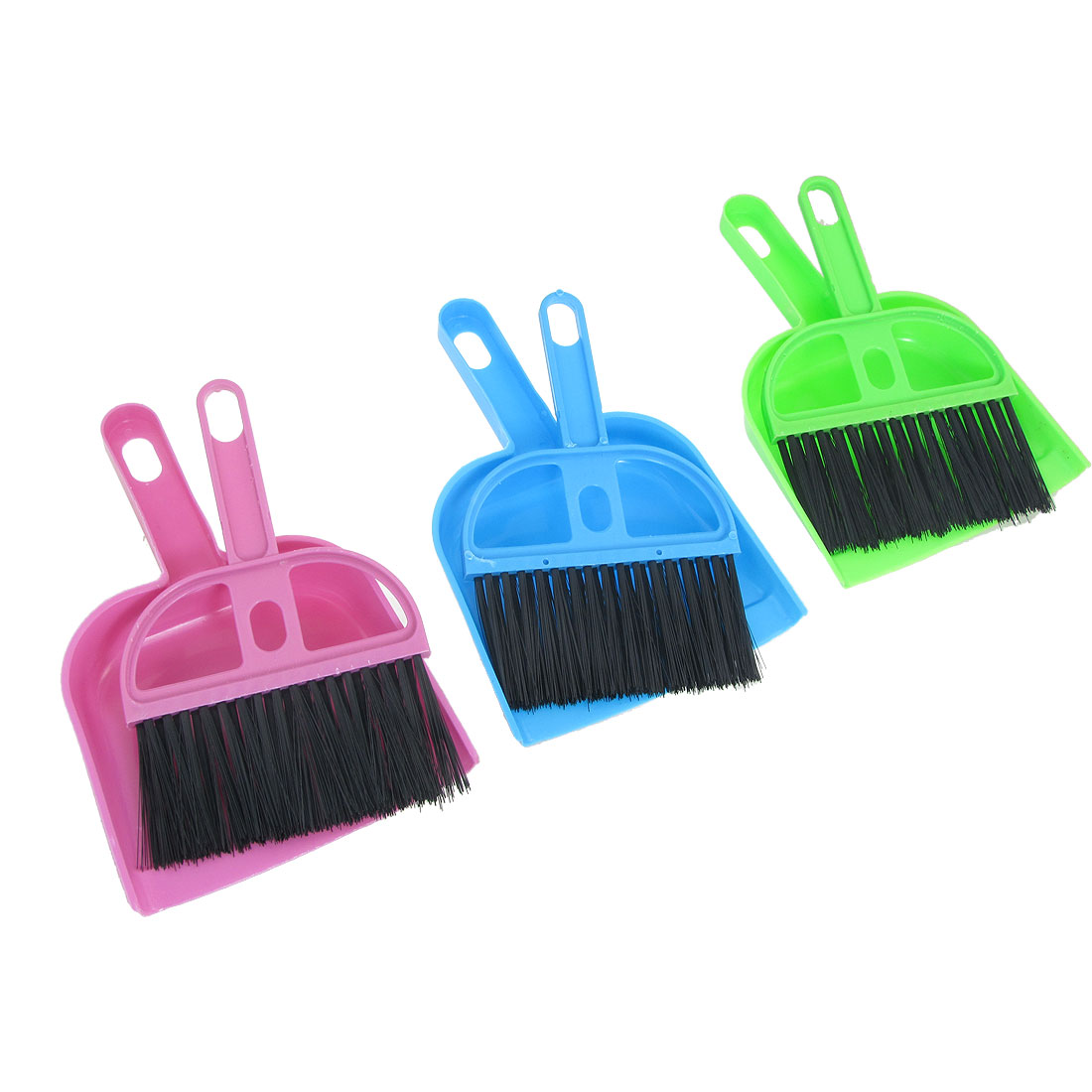 3 Pcs Assorted Color Car Keyboard Cleaning Whisk Broom Dustpan Set