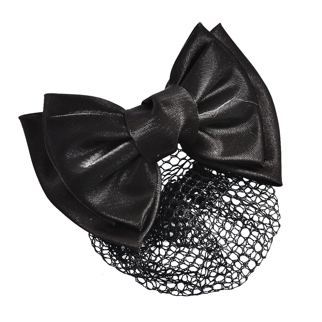 Woman Black Polyester Bowknot Accent Barrette Snood Net Hair Clip