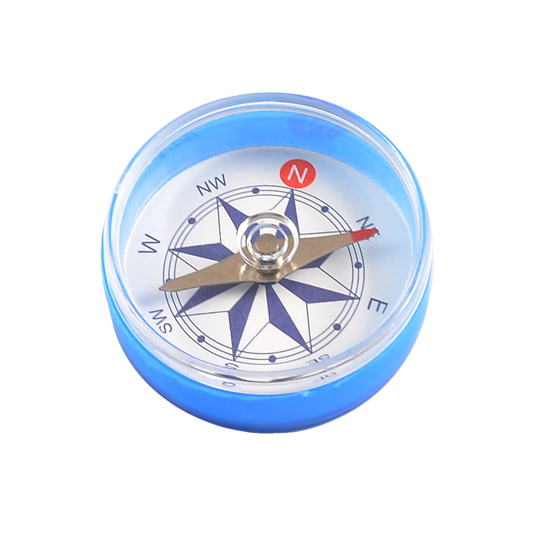 Outdoor Hiking Camping Blue Clear Plastic Shell Round Compass