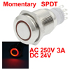 Red LED Light 24V 16mm SPDT Stainless Steel Round Momentary Push Button Switch