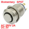 3V Blue LED Pilot Light 12mm N/O NO Stainless Steel Momentary Pushbutton Switch