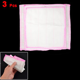 Home Kitchen Clean Towel Dish Cleaning Cloth White Pink 3 Pcs