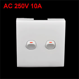 AC 250V 10A SPST On/Off 2 Gang Wall Plate Switch White