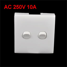 Home White Plastic Shell 2 Gang Wall Panel Switch AC 250V 10A