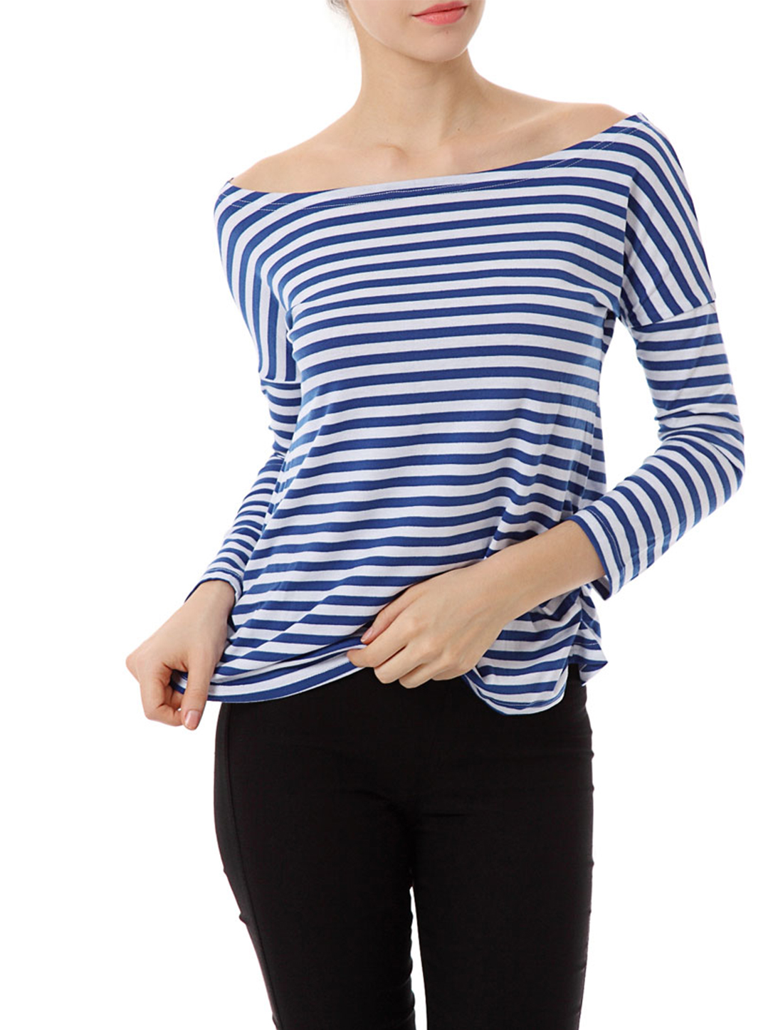 Woman Blue White Stripe Boat Neck Long Sleeve Shirt Tops S