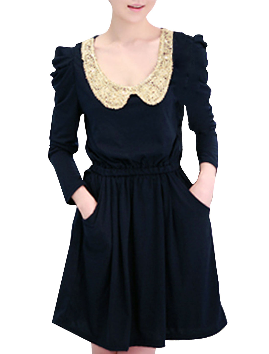 Woman Sequin Peter Pan Collar Elastic Waist Dress Dark Blue S